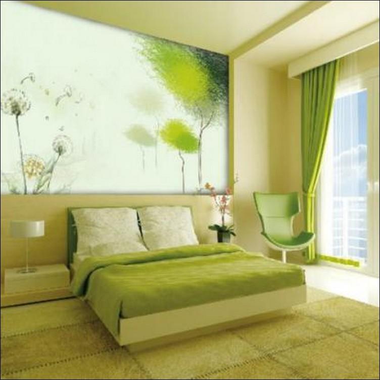 interior kamar tidur nuansa hijau
